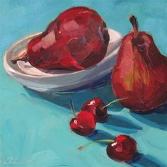 """Daily Paintworks - """"Red Pears and Cherries"""" - Original Fine Art for Sale - © Lynne Schulte"""