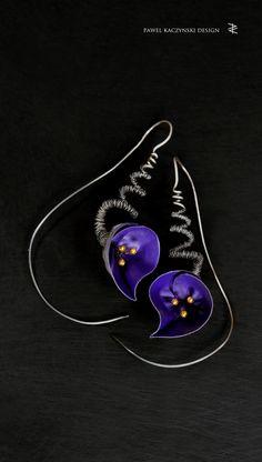 Earrings - silver, stainless steel, gold - Pawel Kaczynski Jewellery