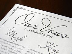 Did you know that paper is the traditional 1-year anniversary gift? A print of your vows is a gift that keeps on giving.  www.paperandhome.com