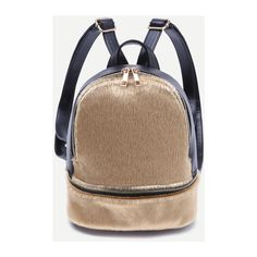 Gold Faux Fur Covered Zip Front Backpack (1,670 INR) ❤ liked on Polyvore featuring bags, backpacks, knapsack bag, day pack backpack, faux fur bag, faux fur backpack and rucksack bags