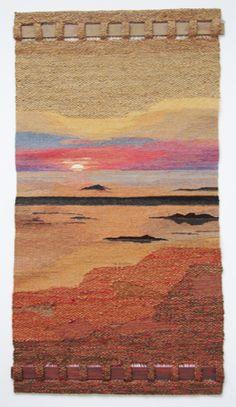 Weaving Wall Hanging, Weaving Art, Weaving Patterns, Tapestry Weaving, Loom Weaving, Weaving Textiles, Hand Weaving, Contemporary Tapestries, Landscape Art Quilts