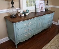 Anne Sloan Chalk paint: Duck Egg Blue + clear wax; top is stain + AS Dark wax