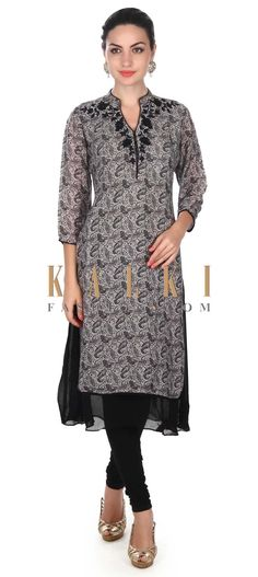 Buy this Black and grey kurti adorn in resham embroidery only on Kalki
