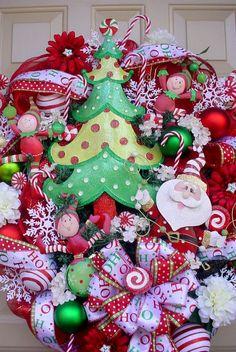 Rockin Around The Christmas Tree-So Cute Colorful Christmas Winter Wreath-Deco Mesh-Free Shipping. $159.95, via Etsy.