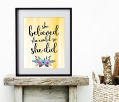 She Believed She Could So She Did Art Print, Teen Girl Decor, Inspirational Quote, Girl Power, Wall Art