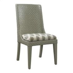 Bassett Custom Dining Woven Dining Chair. This wonderful dining chair can be matched with many tables. A sturdy herringbone weave adds a Caribbean feel to this chair. Multiple finish options available.  Can be customized with your choice of fabric or leather.  www.esprit-decor.com