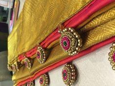 How to Make Saree Tassel/Kuchu design with Beads @ Home - Design - . Saree Tassels Designs, Saree Kuchu Designs, Kurti Embroidery Design, Hand Embroidery, Traditional Blouse Designs, Maggam Work Designs, Latest Designer Sarees, Indian Designer Wear, Saree Collection