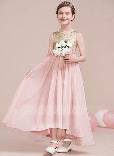 [AU$110.00] A-Line/Princess Ankle-length Flower Girl Dress - Chiffon/Sequined Sleeveless Scoop Neck With Flower(s)/Sequins/Bow(s)