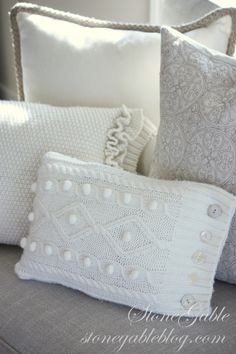 Pillow makeover with sweaters. Love the cozy textures!