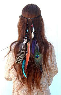 Boho feather hair band