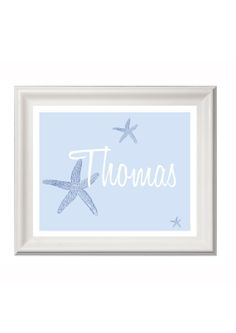 Personalised starfish art print name print by PinkMilkshakeDesigns, £12.95