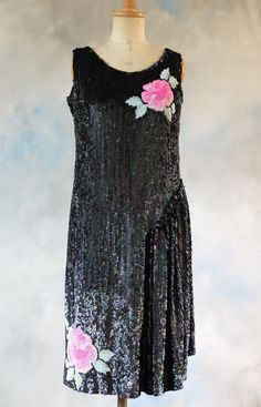 """1920s sequin evening dress, party dress, flapper, Gatsby, Downton Abbey, dance dress 34-36"""" bust by FrenchModeVintique on Etsy"""