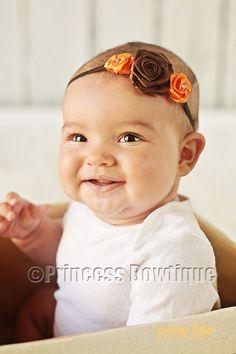 Fancy Fabric Thanksgiving Orange Brown Vitnage Bitty Band Baby: Buy Baby Headbands & Hair Bows at Princess Bowtique