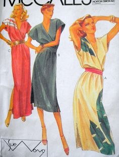 Vintage Wrap Dress PatternSue Wong 1980 Bust 32534 by linbot1, $10.00