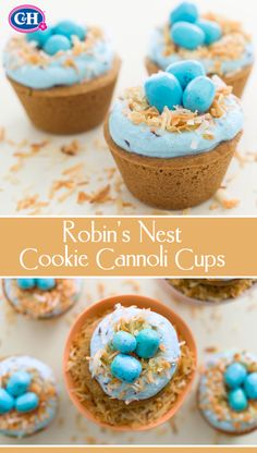 Filled with cannoli cream and topped with a coconut and candy-egg nest, these cookie cups are the perfect Easter dessert.
