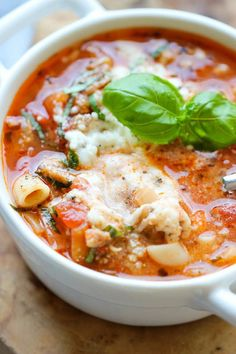 Lasagna Soup - All the flavors of lasagna in a comforting, cheesy soup with a dollop of ricotta that gets melted right into the soup! (scheduled via http://www.tailwindapp.com?utm_source=pinterest&utm_medium=twpin&utm_content=post418425&utm_campaign=scheduler_attribution)