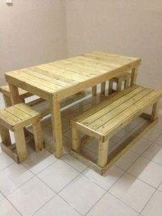 Pallet 6 People Dining Set - 20 Excellent Pallet Furniture Projects | 101 Pallets