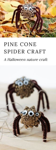 Kids of all ages will enjoy making Pine Cone Spiders. They are the perfect Halloween nature craft for kids! #naturecrafts #halloween #KidsCrafts via @https://www.pinterest.com/fireflymudpie/