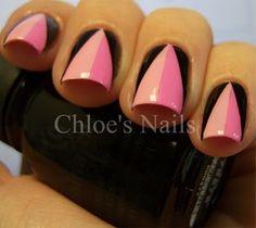 Pink and Black triangular nail art