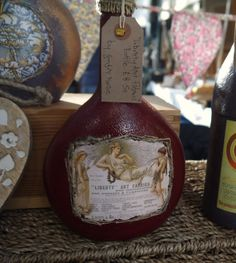 Recycled Decorated Vintage Ad Bottle, by Ginger Rosie Crafts