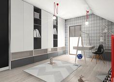 Pokój na poddaszu dla chłopca Kids Wardrobe, Boy Room, Sideboard, Kids Bedroom, Studio, House, Interiors, Furniture, Home Decor