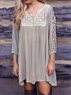 Gray V Neck Hollow Crochet Panel Long Sleeve Dress