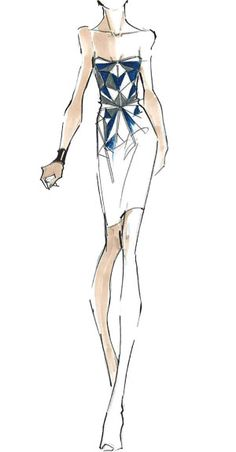 Herve Leger by Max and Lubov Azria - prominent colors   Multiple shades of Blue: Earth-tone Blues that range from Cool Chambrays to Ultra Blue Sapphires and Cold Steel Blues