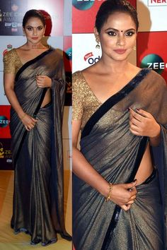 Buy Newarrival Latest Designer Bollywood Neetu Chandra Black Georgette Saree With Banarasi Silk Blouse - for women online Please msg or whatsapp at 0169179180 for order details Latest Indian Saree, Indian Sarees Online, Neetu Chandra, Sari Design, Casual Saree, Traditional Sarees, Saree Dress, Georgette Sarees, Party Wear Sarees