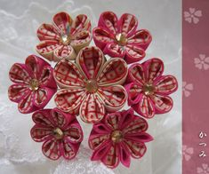 katumi made *手作りしましょう*つまみ細工の簪(かんざし)古布アンティーク
