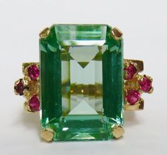 VINTAGE-1940S-RETRO-HUGE-14-5-CT-GREEN-TOURMALINE-RUBY-14K-GOLD-RING-ESTATE