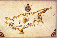 Cyprus by Piri Reis//Historical map of Cyprus by Piri Reis// Cyprus in the Kitab-ı Bahriye (Book of Navigation) of Piri Reis, an Ottoman admiral. Vintage Maps, Antique Maps, Piri Reis Map, Cyprus Holiday, Medieval, Cyprus Greece, Journey To The Past, Map Quilt, Old Maps