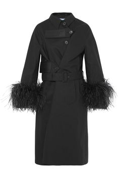 Black cotton, feathers and rubber Prada Trench Velcro®-fastening tab,  asymmetric button