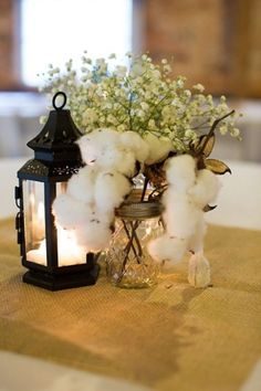 Wedding Themes Cotton Themed Wedding - Taking place at a South Carolina barn wedding venue called Sleepy Hollow Barn Magical Wedding, Dream Wedding, South Carolina, Cotton Decor, Rustic Wedding Centerpieces, Centerpiece Ideas, Centrepieces, Reception Decorations, Table Decorations