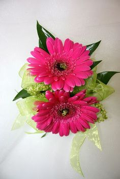 Hot Pink Gerber Daisy Prom Corsage with Lime Green Accents