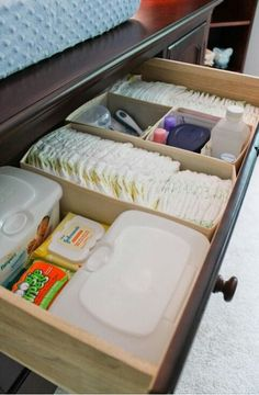 Do this but with fabric drawers under the changing table