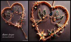 Heart wire suncatcher with birds and swarovski by illustrisdesigns
