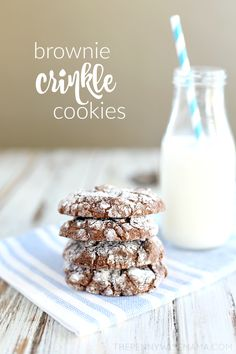 These Brownie Crinkle Cookies are rich and full of chocolate flavor — every chocolate lover's dream. Chewy on the edges and soft and gooey on the inside, they are like a brownie, only in cookie form. Using box brownie mix, they are quick and easy to prepare — perfect for a last-minute dessert! #a2Milk #IC (ad)