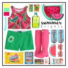 """Summer Brights: Watermelon Love"" by cara-mia-mon-cher ❤ liked on Polyvore featuring Chicnova Fashion, Calvin Klein, Hunter, J.Crew, Free Press, Miss Selfridge, Cutler and Gross, claire's, Topshop and Nails Inc."