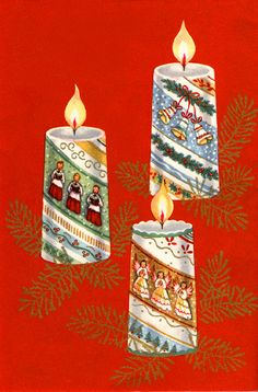 Vintage Christmas Candles Card ~ Orange Accents
