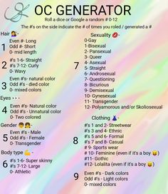 Oc Generator 4 New Characters  Pick a random # Art Journal Challenge, Art Style Challenge, Drawing Challenge, Drawing Ideas List, Drawing Reference Poses, Drawing Tips, Creative Writing Tips, Book Writing Tips, Drawing Prompt