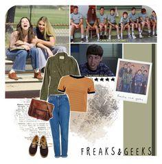 """""""Freaks & Geeks"""" by golddustwomanxx ❤ liked on Polyvore featuring Velvet, Boohoo, Topshop, Vans, vintage, freaksandgeeks and freaks"""