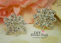 2 pcs Rhinestone Crystal Brooch Embellishment by DIYBoutiqueSupply