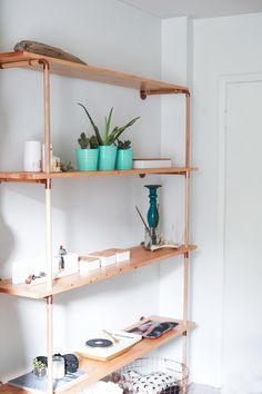 DIY // Copper & Wood Shelf — i wish someone would make this for me.