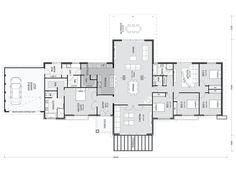 Not enough bathrooms - Happy Friday! This is such a great family plan if you have some space to build it on. The mudroom/laundry/scullery and then through to the. Best House Plans, Dream House Plans, House Floor Plans, 5 Bedroom House Plans, The Plan, How To Plan, Acerage Homes, Raked Ceiling, House Blueprints