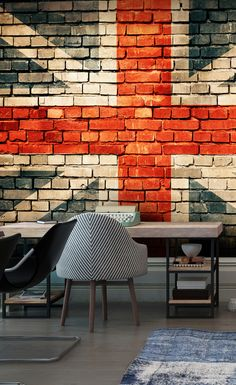 Create The Ultimate Brick Feature Wall With This Union Jack Brick Wall Mural.  Transform Offices Part 35
