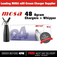 48 Nitrous Oxide nos, noz, n2o Mosa 8g cream chargers & nos dispenser + cream whipper only at £48.50