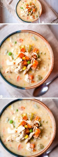 All the tastiness of CHICKEN POT PIE in an easy and HEALTHY SLOW COOKER version. Crockpot Healthy Recipes Clean Eating, Slow Cooker Healthy Soup, Recipes Slow Cooker, Healthy Crockpot Soup Recipes, Clean Eating Soup, Crockpot Meals, Crockpot Dishes, Healthy Crock Pots, Recipies Healthy