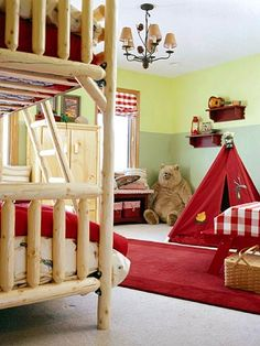 A Camp Theme Room For Two  A little campy and a whole lot of fun, this bedroom inspires creativity and adventures at every turn. Chunky pine furniture adds to the camp theme. The color scheme pairs bold red with two tones of outdoorsy green.