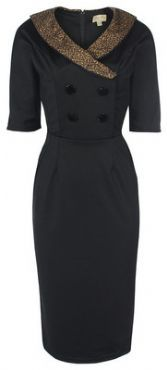 LINDY BOP 'DEANNA' GLAMOUROUS VINTAGE 1940's STYLE BLACK DOUBLE BREASTED WIGGLE PENCIL DRESS