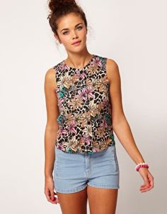 River Island Tropical Safari Print T-Shirt